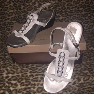Bandolino HappyMe Silver/White Low Wedge Sandal